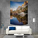smallbeefly Yosemite Tapestry Wall Tapestry Yosemite Mirror Lake and Mountain Reflection on Water Sunset Evening View Picture Art Wall Decor 60W x 80L INCH Navy Brown