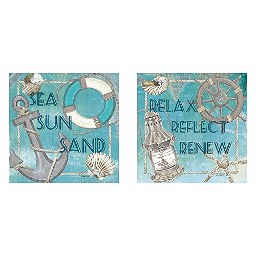 two-12x12-wall-art-prints-sea-sun-sand-relax-reflect-renew-coastal-beach-decor