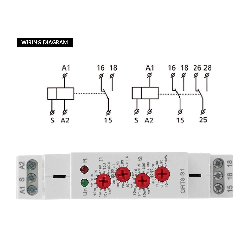 Repita el rel/é de tiempo de ciclo GRT8-S1 Mini temporizador de ciclo asim/étrico ON//OFF Repita el rel/é de tiempo de ciclo AC 230V para el hogar industrial