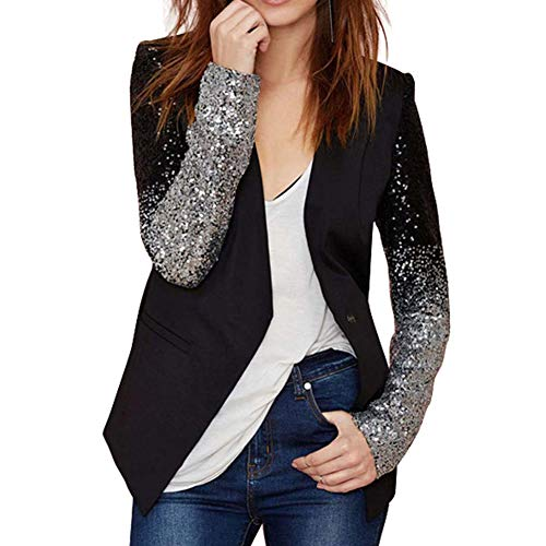 Women's Sparkle Sequins Blazer V Neck Business Formal Coat Long Sleeve PU Patchwork Open Front Lapel One Button Jacket -
