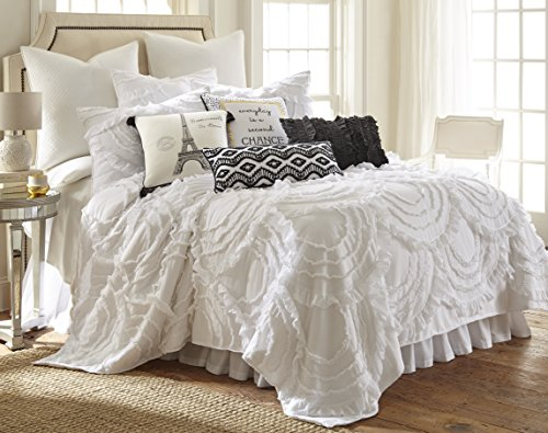 Levtex Layla King Cotton Quilt Set, White