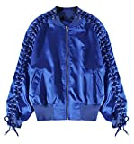 Pivaconis Womens Classic Zip-Up Baseball Hip-hop Lace Up Bomber Jacket Coat Blue F