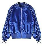 Zantt Women's Autumn Lace Up Baseball Zipper Hip-hop Bomber Jacket Coat Blue F
