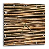 horizontal wood fence 3dRose Alexis Photography - Texture Wood - Image of wooden wicker fence. Horizontal tree twigs. Natural pattern - 15x15 Wall Clock (dpp_287125_3)