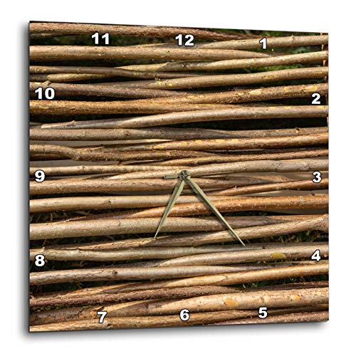 3dRose Alexis Photography - Texture Wood - Image of wooden wicker fence. Horizontal tree twigs. Natural pattern - 15x15 Wall Clock (dpp_287125_3)