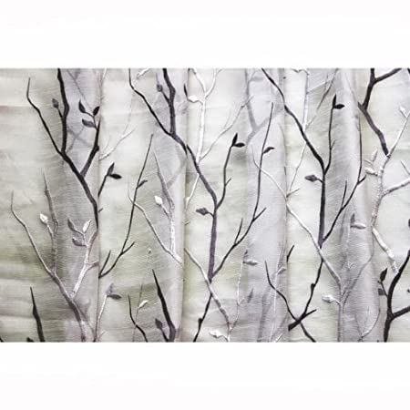 44 Wide Purple Wine N Lavender Trees Embroidered Sheer Curtain