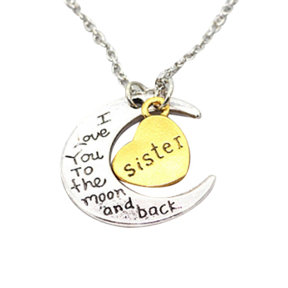 Gbell Kids Silver Moon Heart Necklace - ' I Love You To The Moon' Engraved Necklace Charm for Boys Girls Men Women Gifts - Son Mom Aunt Sister Daughter Dad Brother Grandma Necklaces Jewelry (Sister)
