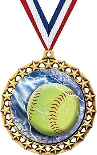 ソフトボールメダル 2 1/2インチ Galaxy Star Girls ソフトボールメダル 素晴らしいソフトボール賞 プライム