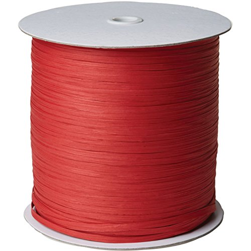 Jillson & Roberts Paper Raffia Ribbon, 1/4'' Wide x 1000 Yards, Red by Jillson Roberts