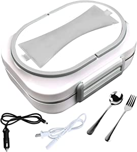 INSDKINADLD Electric Heating Lunch Box 110V Office Home and 12V Car-use Food Heater Dual Use Portable Lunch Warmer with Removable Stainless Steel Container for Car Office Home (Grey)