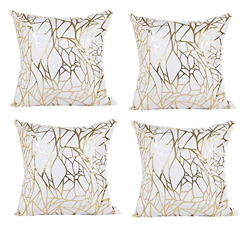 (Vinerstar White Sofa Throw Pillow Covers 18 x 18 (45cm x 45cm) Gold Stamping Love Tree Geometric Square Decorative Super Soft Cushion Cover for Sofa Couch Patio (Irregular Set of 4))