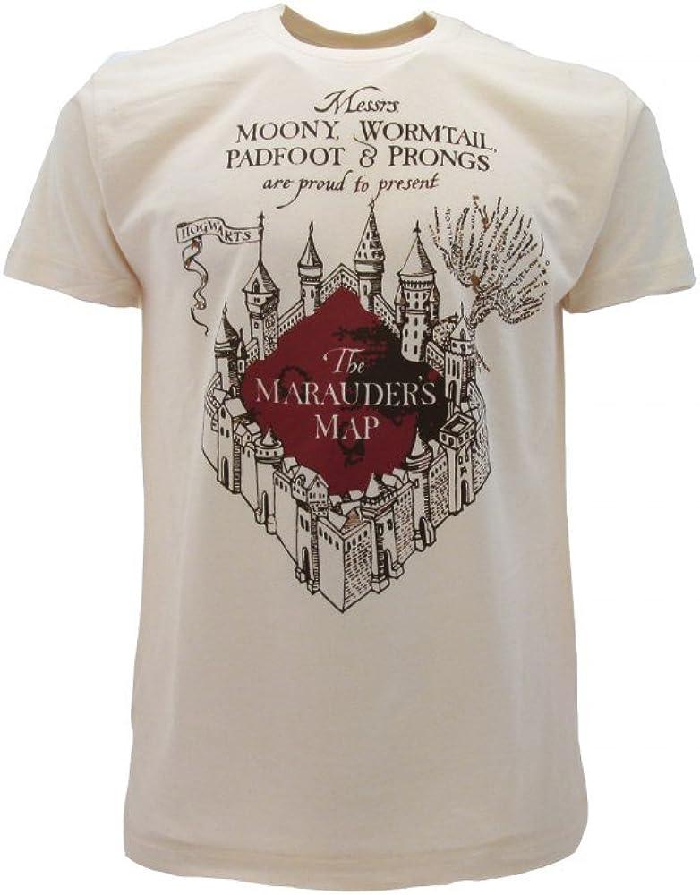 Camiseta original de Harry Potter Marauder's Map Marauders, color beige, producto oficial (S)