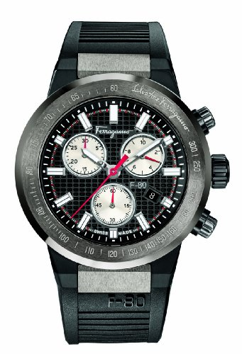 Salvatore-Ferragamo-Mens-F55010014-F-80-Titanium-Watch-with-Black-Rubber-Band