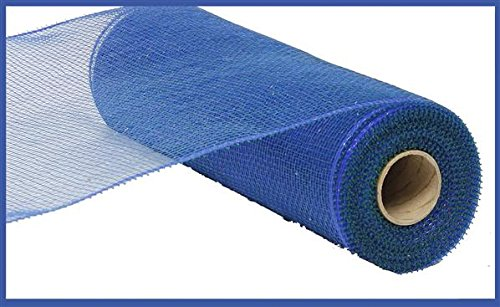 Two Tone Deco Poly Mesh Ribbon - 10 Inches x 10 Yards (Peacock Blue)