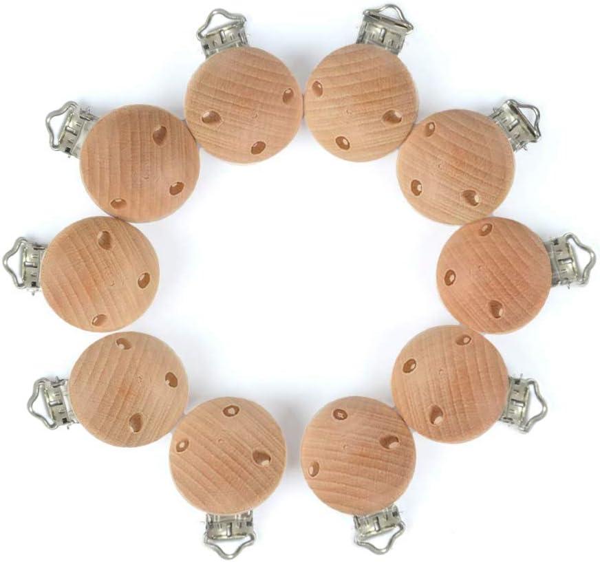 high Quality Baby Pacifier Clip Pacifier Chain Clip Wood DIY Pacifier Clips Pacifier Chain Accessories Premium Pacifier Clips 10 Pieces Yukaki Pacifier Chain Clip