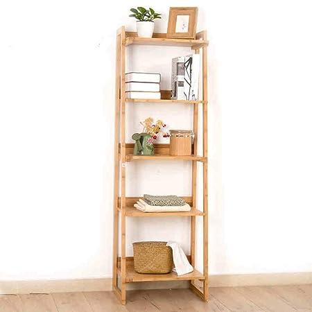 Eeayyygch estantería 5 baldas Bamboo Escalera estantería librería ...