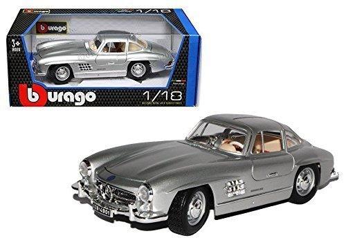 Bburago New 1:18 Silver 1954 Mercedes-Benz 300 SL Touring Diecast Model Car
