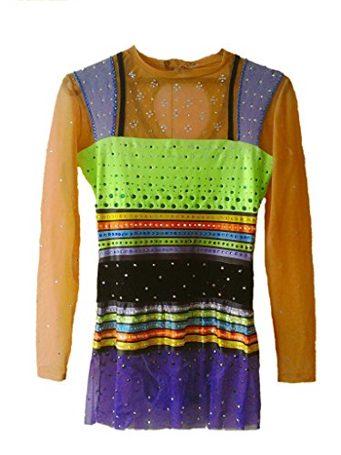 Gymnastics Rhythmic Costumes (Rhythmic Gymnastics Leotard Handmade Crystals Swarovski , DMC)
