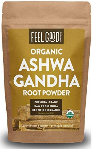 Organic Ashwagandha Root Powder - 16oz Resealable Bag (1lb) - 100% Raw From India - by Feel Good Organics