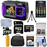 Coleman Duo 2V9WP Dual Screen Shock & Waterproof Digital Camera (Purple) + 32GB Card + Batteries & Charger + Diving LED Video Light + Buoy + Case Kit