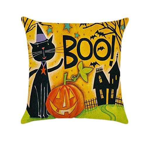 TamPa Happy Halloween Pumpkin Throw Pillow Cushion Cover Home Decor Cotton Linen Square Pillowcase 18