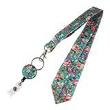Classic Floral Design Retractable 24 inch Neck Lanyard,Strap Name/ID Badge Holder,Medical Nurse Badge ID, Badge Holder, ID Holder, Office Employee Name Badge Reel Clip