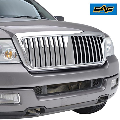 Vertical Abs Grill (E-Autogrilles 04-08 Ford F-150 Chrome ABS Vertical Bar Replacement Grille Grill with Shell (41-0108))