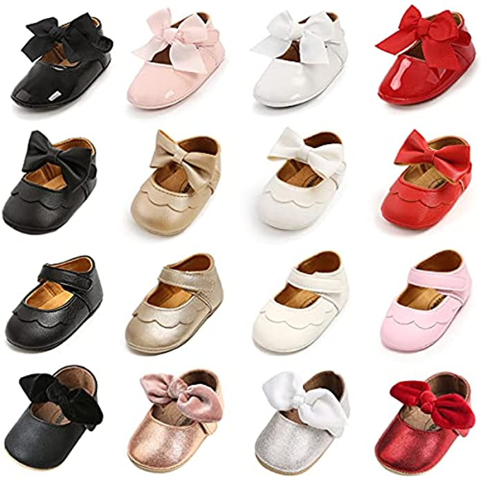 Soft Sole Baby Girl Shoes,Mary Jane Flats Non-Slip Toddler Walking Shoes Princess Wedding Dress Shoes