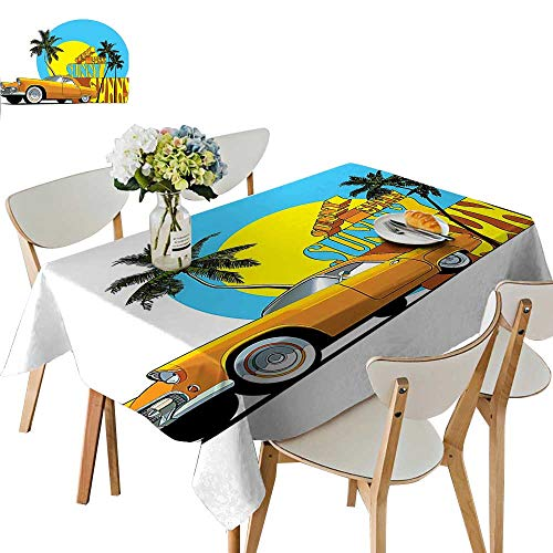 UHOO2018 Square/Rectangle Indoor and Outdoor Tablecloth Vintage Classic Car in Magic City Miami with Exotic Coconut Trees Sunny Day Restaurant Party,54 x102inch -