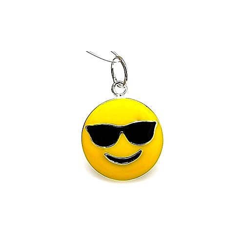Colgante plata ley 925m 22mm. emoticono gafas sol esmaltado ...