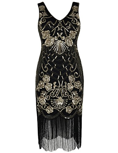PrettyGuide Women's Flapper Dress Vintage Sequin Deco Cocktail 1920s Gatsby Dress L Gold
