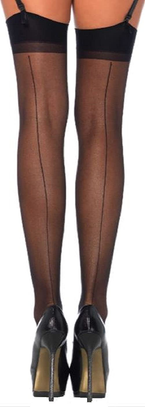 bb2be5f2311 Leg Avenue women stockings with seam at the back in black transparent one  size about 38 to 40  Amazon.co.uk  Clothing