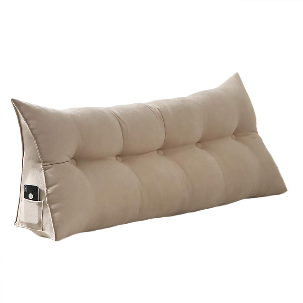 VERCART 100% Polyester Sofa Bed Large Soft Upholstered Headboard Filled Wedge Cushion Bed Backrest Positioning Support Reading Pillow Office Lumbar Pad with Removable Cover Ivory King