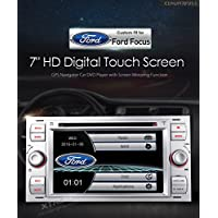 """XTRONS Silver 7"""" HD Touch Screen Car Stereo DVD Player with GPS Navigator Bluetooth RDS Radio Screen Mirroring Function for Ford Focus S-max Mondeo Kudos Map Card Included"""