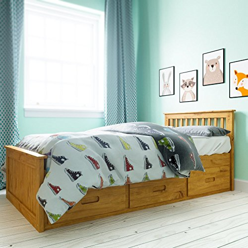 Fantastic Deal! Twin Size Pine Mission Bed with 3 Drawer Storage (Wax)