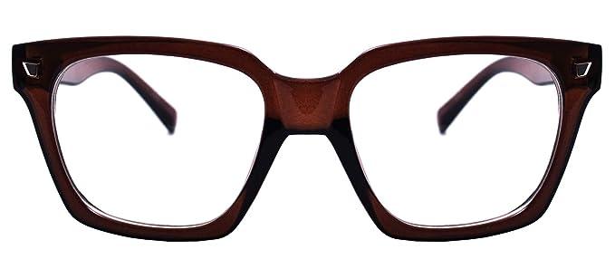 8203d7fecedda Amazon.com: Retro Nerd Geek Oversized Eye Glasses Horn Rim Framed ...