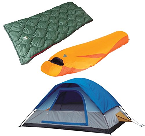 High Peak USA Alpinizmo One 5 Tent/Lite Weight 20F and 20F Sleeping Bag Combo Set, Blue/Orange/Green, One Size ()