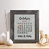 Personalized 4th Linen Anniversary Gift for Him or Her, Wedding Date Calendar Linen Print, Gifts for Husband and Wife, 4 Years Together