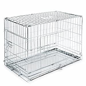 "SmithBuilt - Folding Silver Dog Crate w/ Metal Tray Pan - Double Door - 20"" Length"