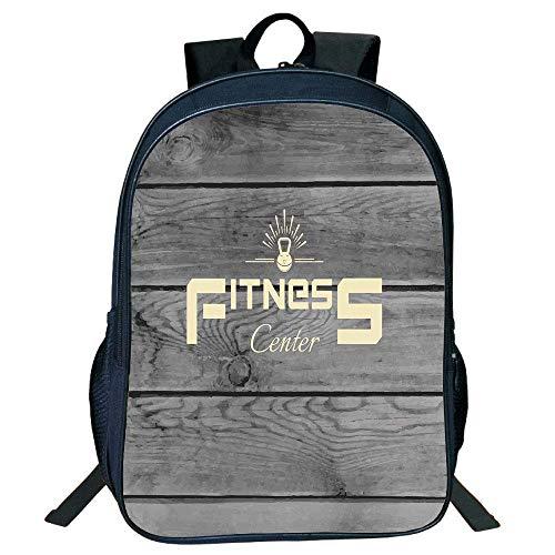Frideing Stylish Unisex School Students Backpack,Fitness,Fitness Club on Wooden Planks Backdrop Aerobics Training Print Decorative,Light Yellow Black Grey Kids,g (Print Yamamoto)