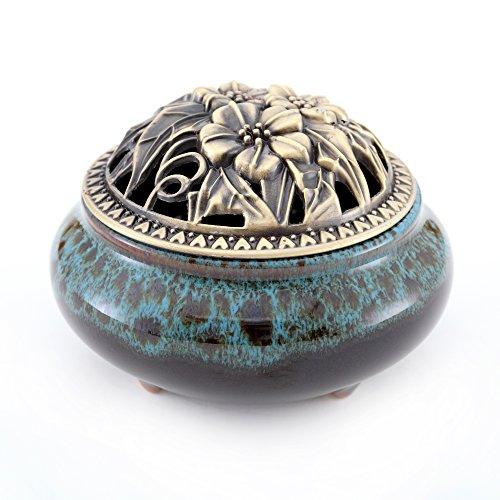 Ceramic Incense Burner & Incense Holder,Diamond-Blue Handmade Censer by Medoosky (Portable Coal Burner compare prices)