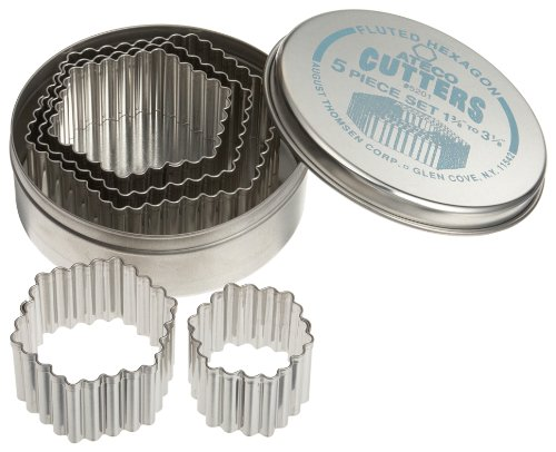 Ateco 5201 Fluted Edge Hexagon Cutters in Graduated Sizes, Stainless Steel, 5 Pc Set
