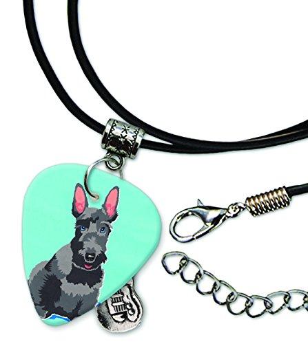 Scottie Cord - Scottie Scottish Terrier Guitar Pick Leather Cord Necklace (MW)