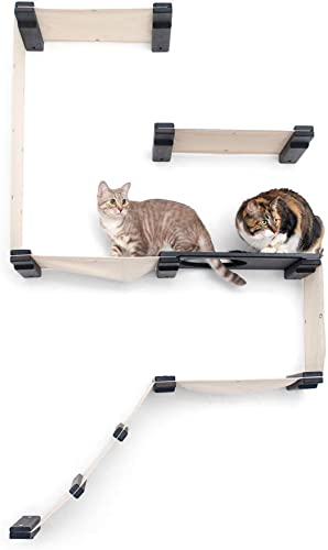CatastrophiCreations Fort Set – Multiple-Level Cat Hammock Climbing Activity Center Wall-Mounted Cat Tree Shelves, Onyx Charcoal Gray