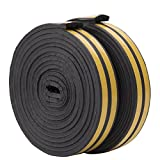 10 m Door Window Draught Excluder Seal Strips, E Type Rubber Seal Weather Strip Foam Tape Anti-Collision Self-Adhesive Weatherstrip Waterproofing, 9mm x 4mm x 2.5m, 4 Seals Total 10M (Black)