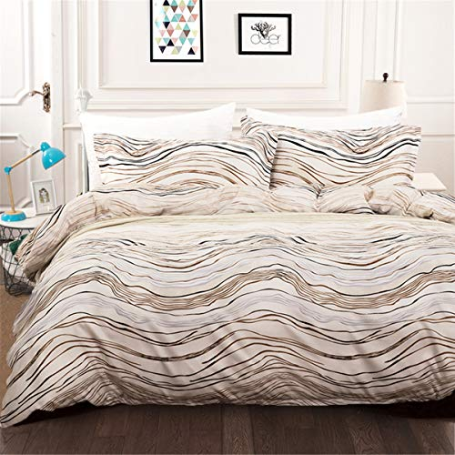 Luxury Bohemian Duvet Cover Queen Modern Gold Brown Striped Wave Printed White Bedding Duvet Cover with Zipper Ties 3 Pieces Microfiber Duvet Cover Ultra Soft