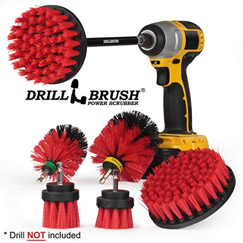 Drillbrush Ultimate Outdoor Cleaning Kit with 7 Inch Extension - Stiff Bristle Brush - Grout Cleaner - Mold - Mildew - Bird Bath - Garden Statues - Outdoor Water Fountain - Headstone - Granite Cleaner