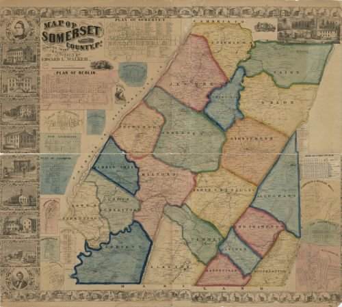 1860 Map of Somerset County, Pa. - Size: 22x24 - Ready to Frame - Berlin   Pennsylvania   Somerset  
