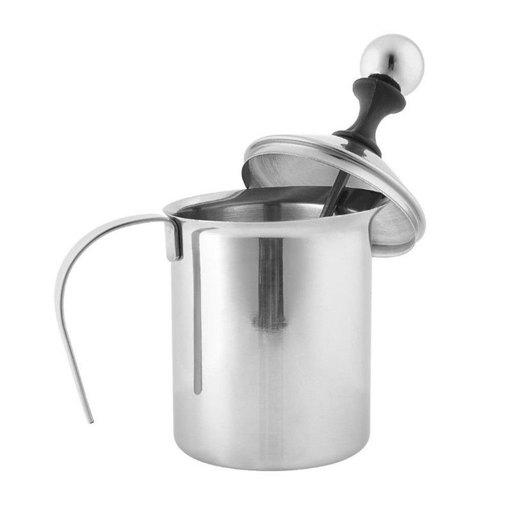Tailcas® 400ML Stainless Steel Double Mesh Pump Milk Coffee Frother Milk Foamer Milk Creamer Tools