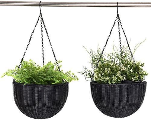 Giantex Outdoor Garden Hanging Planter Round Decor PE Rattan Hanging Planter Pot 2-Pack